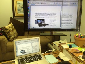 """My MacBook Air attached to 40"""" RCA television as computer monitor."""